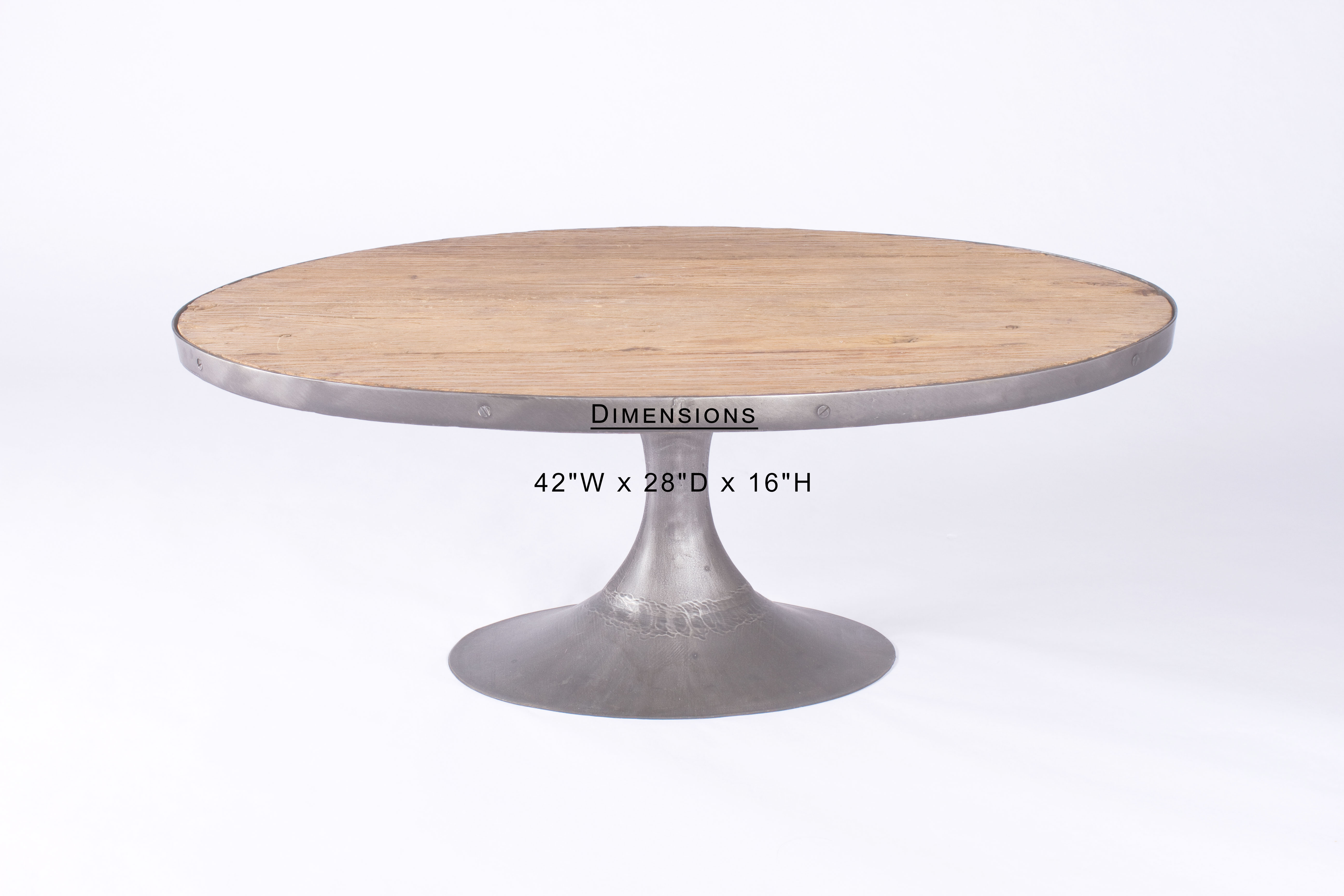 Oval Wood U0026 Iron Coffee Table